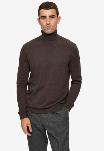 Selected Homme brown Berg Roll Neck Sweater 0094FAAB1BEBF4GS_1
