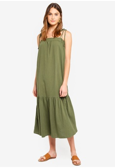 c184bb832b Cotton On green Woven Arabella Tie Shoulder Maxi Dress 24A70AA2746C27GS 1