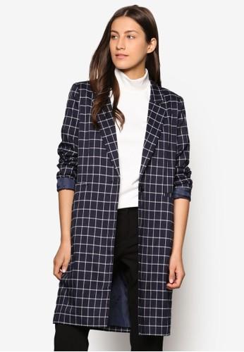 Collection 格紋單鈕扣大衣、 服飾、 外套ZALORACollection格紋單鈕扣大衣最新折價