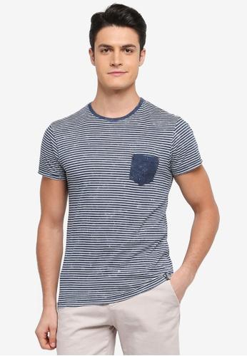 Indicode Jeans 海軍藍色 短袖條紋口袋T恤 95C51AADBA44B2GS_1