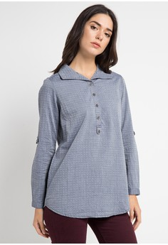 Expand grey Doby Blouse Front Button 8A635AA9BD2E64GS 1 f0e956b22e