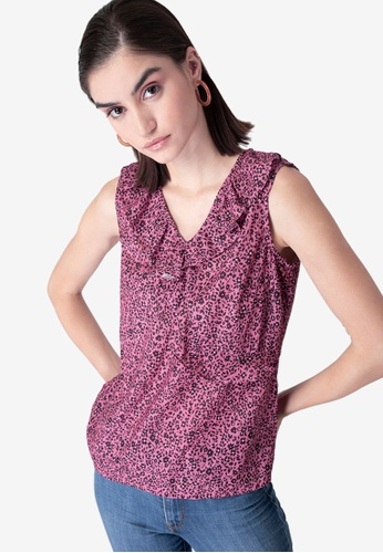FabAlley pink Floral Ruffled Top 37F54AAB457D79GS_1
