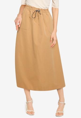 ZALORA BASICS brown Bungee Cord Skirt 5672CAAFCF382DGS_1