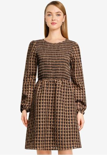 Vero Moda beige Slema Check Smock Long Sleeve Dress 52FECAA75358AAGS_1