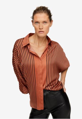 Mango brown Oversize Striped Shirt 32E6EAAF20B6F4GS_1