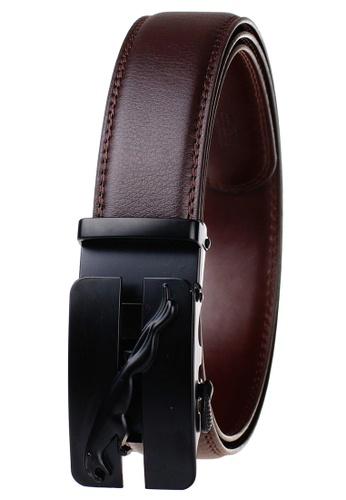 FANYU brown Leather Dress Belt With Automatic Buckle belt B36B0AC56EC085GS_1