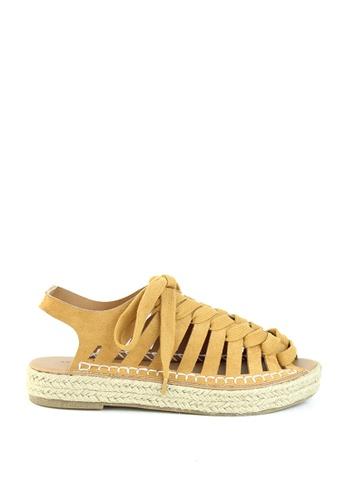 London Rag brown Mustard Multi Lace up Sandal 42406SH3BE6D03GS_1