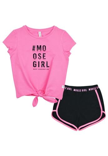 MOOSE GIRL black and pink Girls Blouse With Short Set 89DA5KA8879B20GS_1