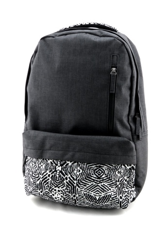 Esther Accessories grey Backpack With Printed Front Pocket - Dark Grey ES153AC10HJPHK_1