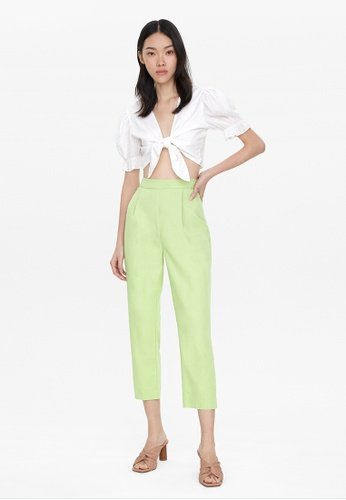 Pomelo green Front Pleated Pants - Green 338DBAA468FA4DGS_1