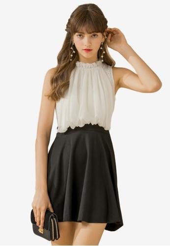 Eyescream white Contrast Lace Bodice Flare Dress 908E3AA55F6A04GS_1