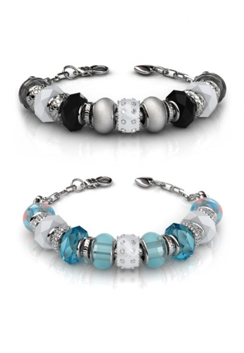 Her Jewellery black and blue Charm Bracelet Set Bundle (Black + Blue) - Made with Premium grade crystals from Austria C9A3AAC52A6F65GS_1