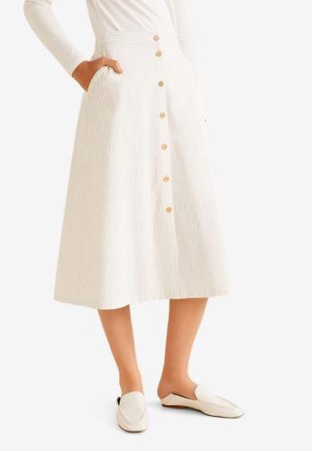 Mango white Striped Cotton Skirt E523CAA7DB3CAEGS_1