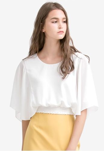 Kodz white Flutter Sleeve Blouse B550EAA3707056GS_1
