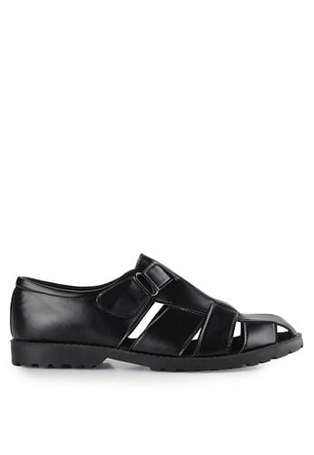 Dr. Kevin black Slip Ons & Espadrilles Sandals 1648 Hitam Leather DR982SH0UO2LID_1
