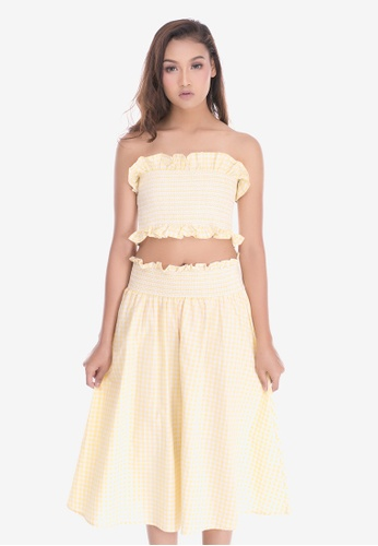 605ca29962 Cat in the bowl white and yellow Gingham Tube Top with Midi Skirt Set  CFA84AA420448FGS 1