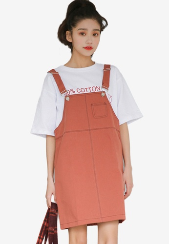 Shopsfashion red Loose Fit Dungaree Dress ACEC8AAAEA40C2GS_1