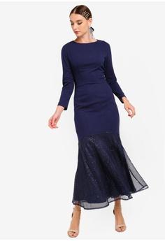 404ab866c979 Zalia blue and navy Sequin Pieced Mermaid Dress A1511AA2C8617CGS_1