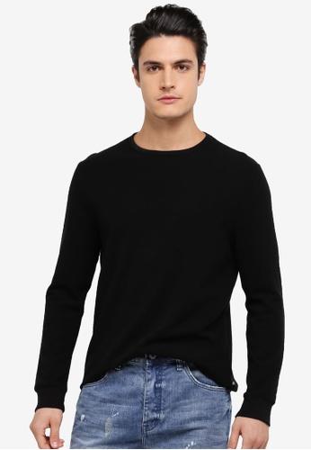 Burton Menswear London black Long Sleeve Mini Waffle Jersey Sweatshirt BU964AA0SWM4MY_1