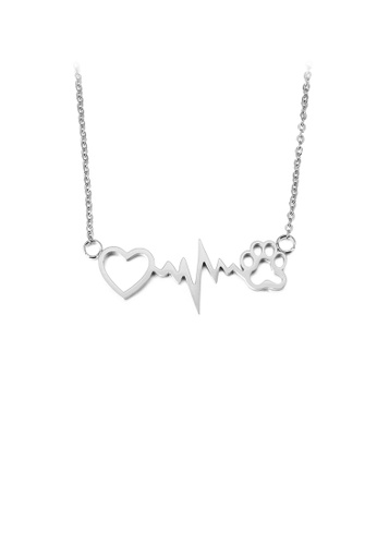 Glamorousky silver Fashion Creative Heart-shaped Dog Paw Print 316L Stainless Steel Necklace CECA7AC5D97FBCGS_1