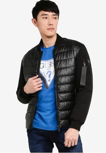 GUESS black Mixed Puffa Jacket BEB1DAA56D9198GS_1