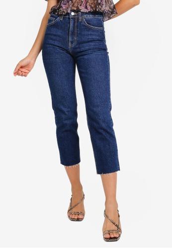 TOPSHOP blue Indigo Raw Hem Straight Leg Jeans 406D5AA6E4A2BFGS_1