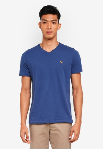 Abercrombie & Fitch blue Brand Icon V-Neck T-Shirt C9388AABE4D998GS_1