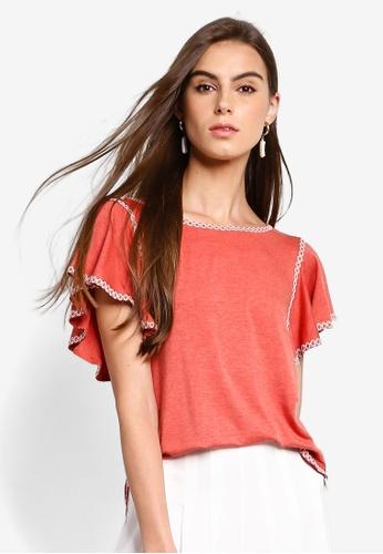 Max Studio 紅色 短袖上衣 B4786AA7CCCB70GS_1