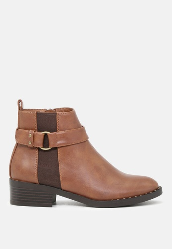 London Rag brown Ankle Length Boots with Gold Rim 794ACSH17231CEGS_1