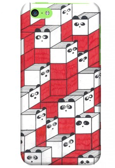 Panda Blocks Matte Hard Case for iPhone 5c