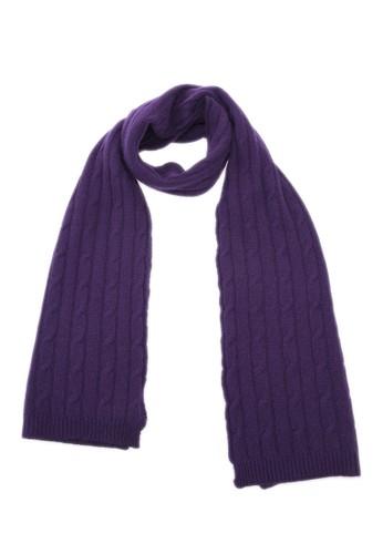 坑條紐繩保esprit門市地址暖圍巾 - 深紫, 飾品配件, 披肩