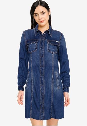 Guess blue Velvet Shirt Dress F492AAA4010571GS_1