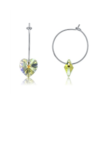 Glamorousky multi 925 Sterling Silver Simple Fashion Circle Heart Shape Earrings with Multicolor Austrian Element Crystal 98F98AC701274AGS_1