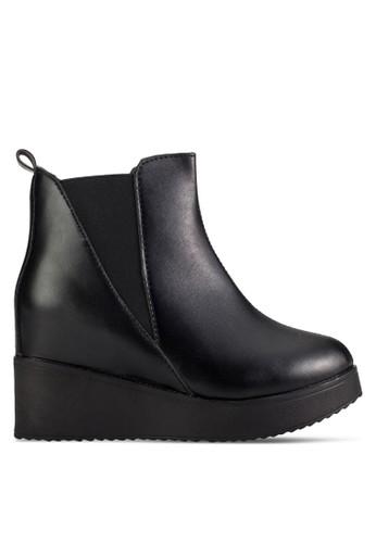 彈esprit手錶專櫃性鞋口厚底及踝靴, 女鞋, 鞋