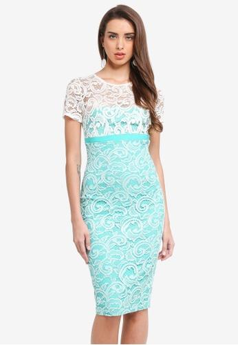 Vesper green Vesper Klarissa Lace Contrast Midi Dress B7B92AAB70631EGS_1