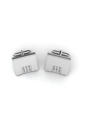 Her Jewellery silver Mr Matt 2 Cufflinks (Square) - Crystals from Swarovski® HE210AC90CIVSG_1