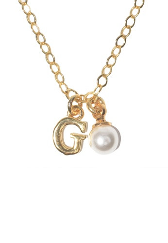 PSYNDROME gold Personalised Initial Letter Alphabet with Pearl Necklace - G 5AA01AC1FDF35DGS_1