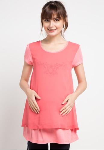 La Karina pink Short Sleeve Chiffon Combi Maternity Shirt A8444AA6B8AC1CGS_1