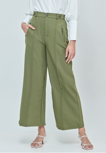 MC Vogue green Sabrina Green Elastic Wide Pants ED5B8AAF76A2B0GS_1