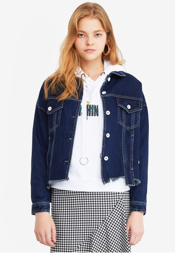 a1ac284f2c8d Buy Hopeshow Contrast Stitch Denim Jacket Online on ZALORA Singapore