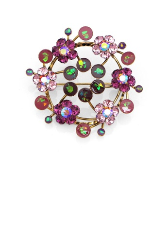 Glamorousky purple Gleaming Wreath Brooch with Purple Austrian Element Crystal 2E45BAC79EAC3CGS_1