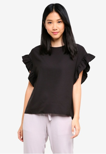 ZALORA black Ruffle Sleeve Oversized Top 9ADA3AA47F22F0GS_1