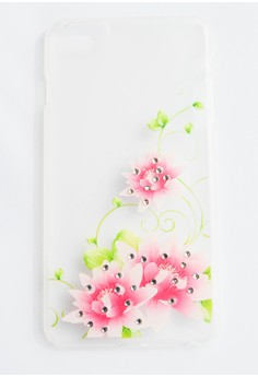 Flowers with Bling Hard Transparent Case for iPhone 6plus, 6splus
