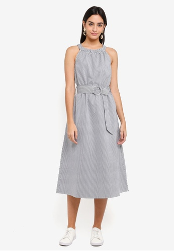 WAREHOUSE blue and multi Stripe Cotton O-Ring Dress B9BE0AAC99311DGS_1