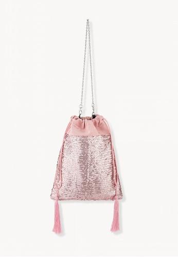 Pomelo pink Sequin Tassels Drawstring Bag - Pink 75CABAC5463A0BGS_1
