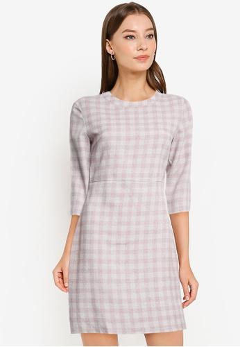 ZALORA WORK pink Check Sheath Dress 4149DAA0B80D4FGS_1