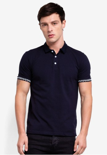 UniqTee navy Polo Shirt With Checkered Cuff E92F6AA994AD28GS_1