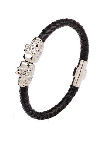 HAPPY FRIDAYS Skull Magnetic Buckled Leather Bracelet QNW2281 87C6FACFC3E485GS_1