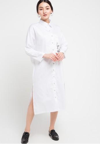 Miyoshi Jeans white Woven Dress Long Shirt 82358AA1E13686GS_1
