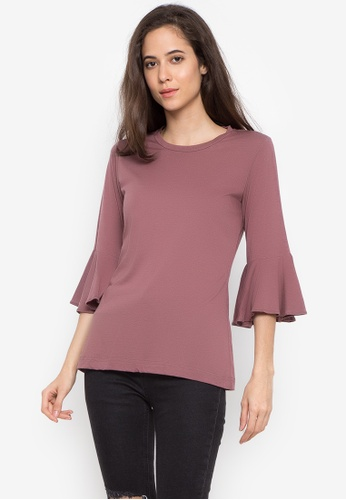moondaze pink Bell Sleeves Round Neck Top 437A7AA38AC59EGS_1